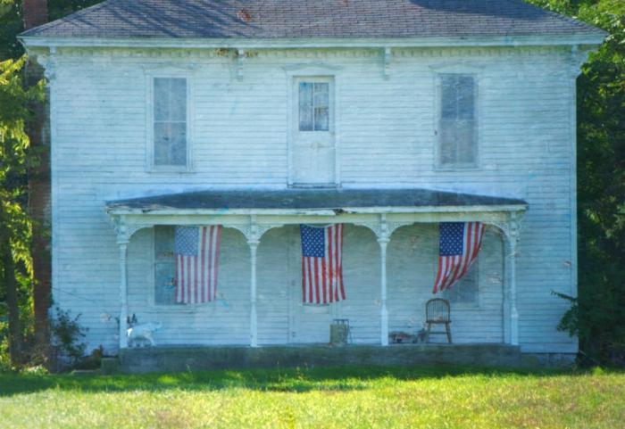 White, Flags, Rural Ohio